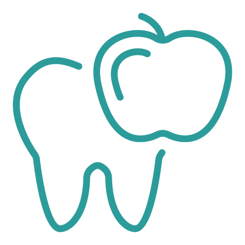 Icon of an apple in front of a tooth