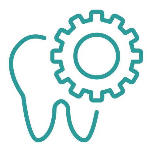 Graphic of a tooth with a gear icon to the right
