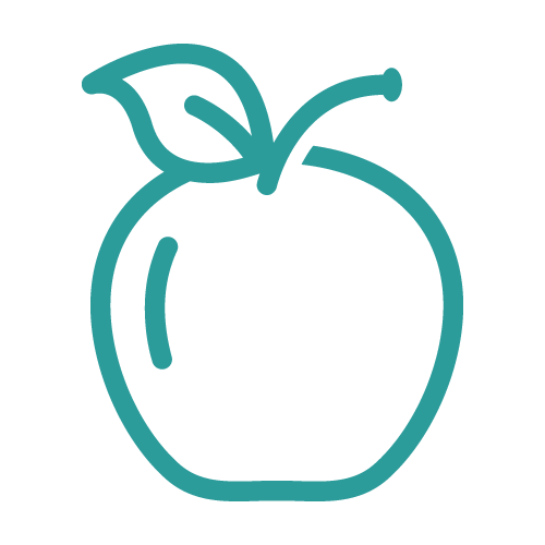 Line icon of an apple as part of a healthy routine recomended by Atlanta Place Dentistry