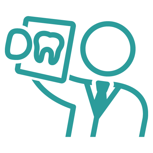 Line icon of a dentist holding a teeth on a frame