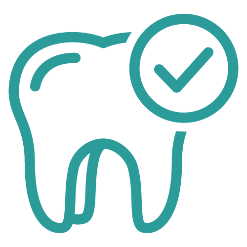 Icon of a teeth with checkmark