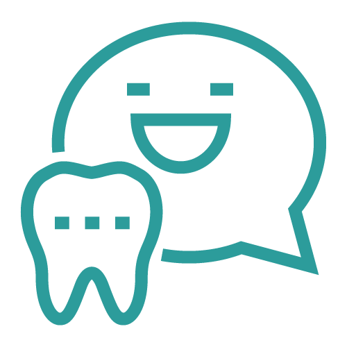 Icon of a chat box with a tooth on front