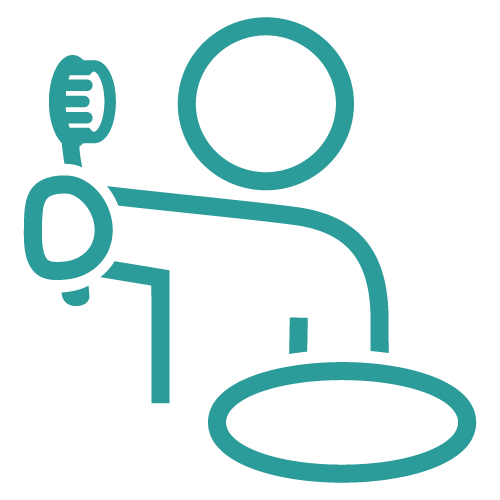 Line icon of a patient holding a toothbrush