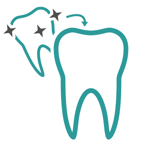 Icon of two individual teeth with an arrow and stars