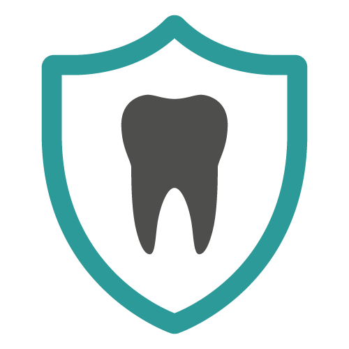 Icon of a tooth inside a shield