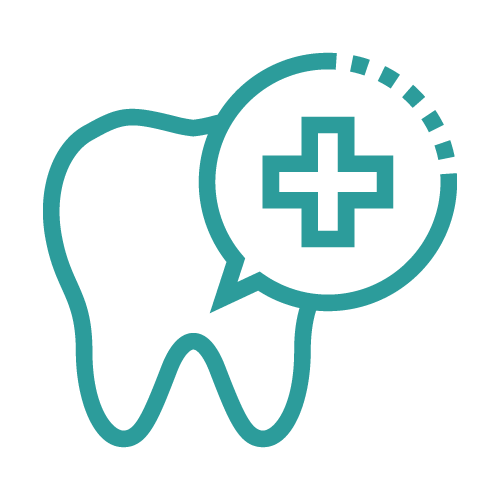 Icon of a tooth with a plus sign on top