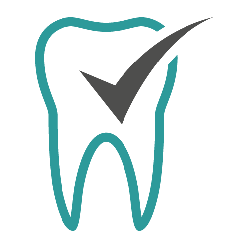 Icon of a tooth with a checkmark on front